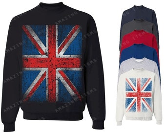 Vintage British Flag Crewneck Union Jack Sweatshirts