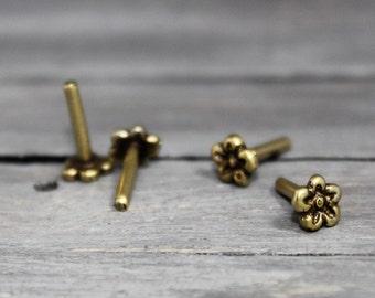 Daisy Rivets, Brass Rivets, 5 Pack, Decorative Rivet, Cold Connection, Flower Rivet, Brass Flower, Brass Daisy, INV7029