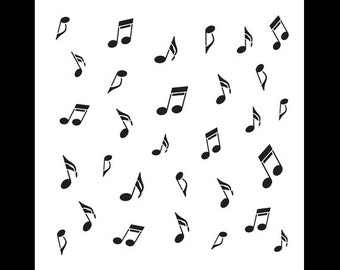Music Notes - Pattern Stencil - Select Size - STCL708 - by StudioR12