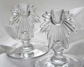 Pair of Vintage Clear Glass Candlesticks
