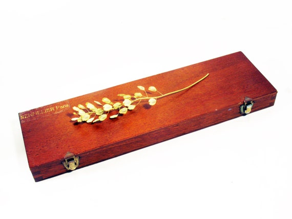 Long Wood Box Pencils Brushes Art Supplies Storage