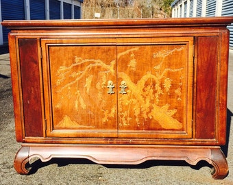 Gorgeous Solid Vintage Asian Inspired Cabinet