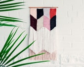 Woven Wall Hanging / Handwoven Tapestry / Weaving Fiber Art / Navajo Triangles / MADE TO ORDER