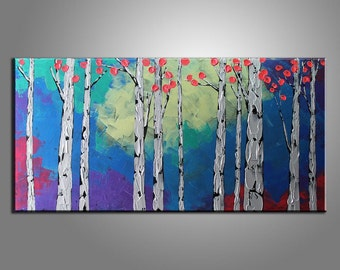 Texture Palette Knife Oil Painting Silver Birch Tree Landscape Painting Large Painting Oil Painting Original Painting Landscape Painting