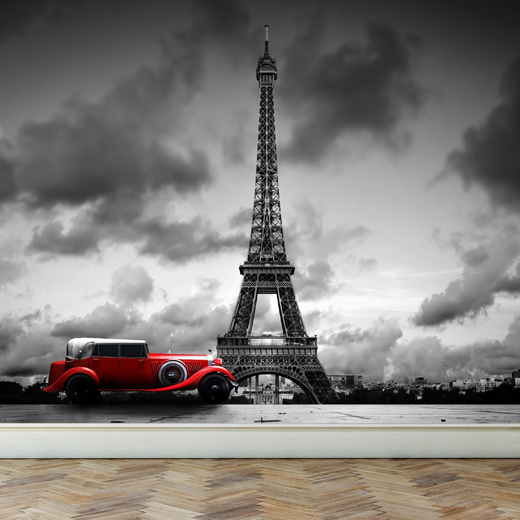 Wall mural eiffel tower in paris and retro red car peel and for Eiffel tower wall mural black and white
