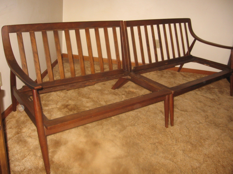 Mid Century Sofa Bench Vintage Danish Modern Wood Sectional