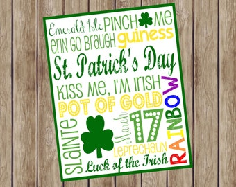 St. Patrick's Day Subway Art. 8x10. Instant Digital Download