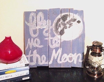 Fly Me To The Moon Reclaimed Wood Painting