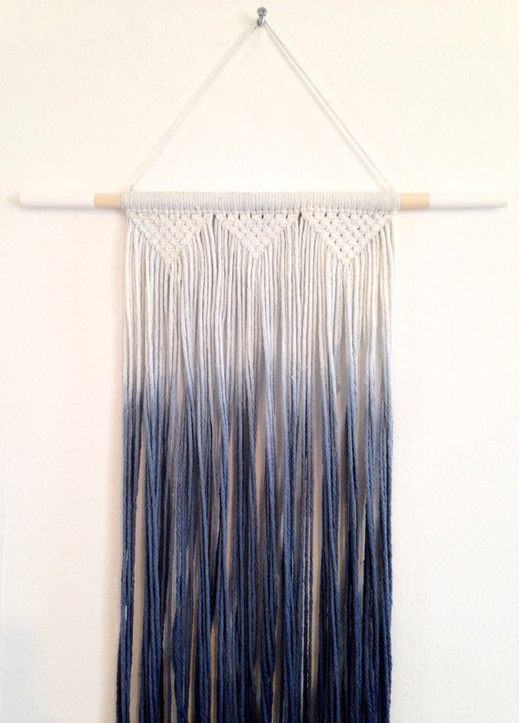 Macrame Wall Hanging Dip Dyed Ombre In Icy Blue By