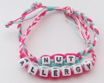 Nut Allergy (kids,baby,toddler,adult) bracelet/anklet, waterproof,string bracelet, ADVENTURE BRACELETS