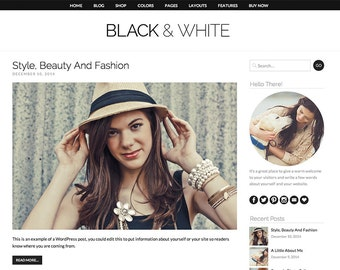 "WordPress Theme ""Black And White"", WooCommerce E-commerce Shop, Responsive Blog Template"