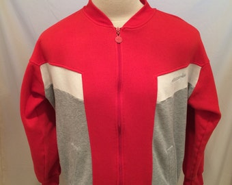 80s Adidas Sweatshirt Zip-Up Jacket, Size L?, Made in Malaysia