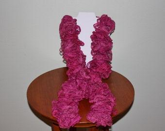 Hand Crochet Ruffle Scarf - Sashay Scarf - Handmade - Pink