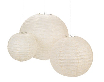 DIY Printed Floral Lace Paper Lanterns (Set of 6)
