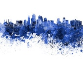 Kansas City skyline in watercolor on white, 8 monochrome colors, and full color - SKU 0433