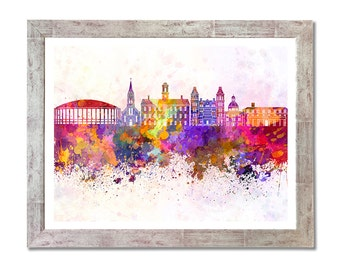 Athens, Ohio,  skyline in watercolor background - SKU 0688