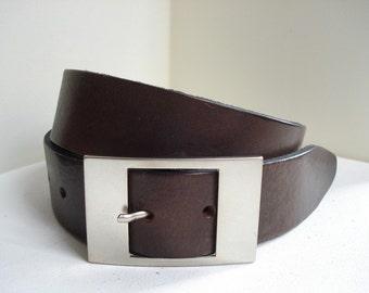 Mens Brown Leather Belt - Handmade in London -  Vintage Brown - Brown Belt - Mens Belt