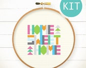 Funny cross stitch KIT DIY gift -Geometric Home Sweet Home Cross Stitch KIT-Special Edition colorful happy typographic Christmas Easter gift