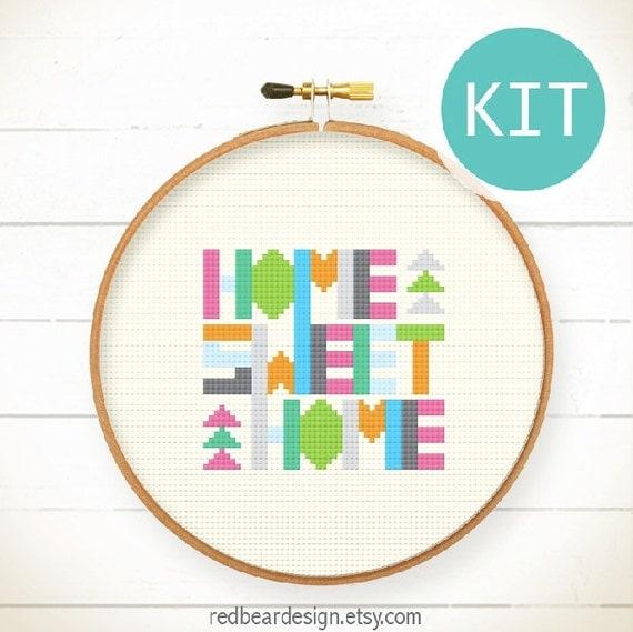 Funny Cross Stitch KIT DIY Gift Geometric Home By