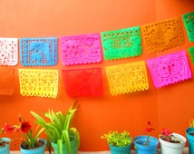 Mexican banner, aztec home decor, tribal, papel picado banner, decoration, mexican party decor, day of the dead