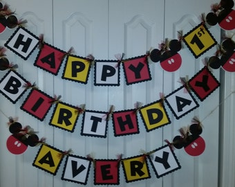 Mickey Mouse Happy 1st Birthday Banner