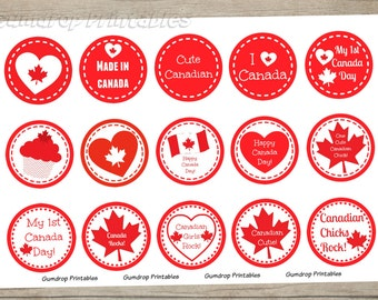 Buy 3 Get 1 Free Canada Day 1 Inch Circles Bottlecap Images ~ Instant Download ~ Canadian Chicks Rock Printable Image Sheet CD_124