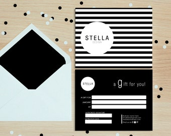 Stella stripe pattern double sided gift certificate template - Instant download