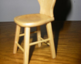 Miniature Oak Wooden Dollhouse Stool with Back, Dollhouse Furniture 1:12 Scale