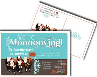 """We're Moooooving! Postcard to announce your family's move. 8.5""""x5.5"""" *Digital, printable file only*"""