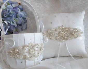 Flower Girl Basket, Ring Bearer Pillow, Wedding Basket and Pillow Set - Style 310