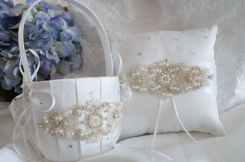 Flower Girl Baskets And Ring Pillows : Flower girl basket ring bearer pillow wedding and