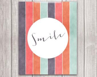 75% OFF SALE - Smile Print - 8x10 Printable Art, Inspirational Print, Art Print, Smile Sign, Typography, Home Decor
