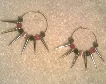 crystal spiked hoop earrings, punk rock earrings, girly yet punk