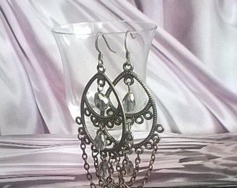 Chain and glass chandelier earrings, pewter chandelier earrings, glass crystal tear drop beads, lightweight.
