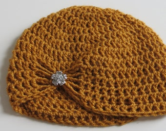 Handmade Crochet 3-6 Month Baby Girl Hat in Mustard Yellow with diamond flower button, Photo Prop, Baby Girl Hat, Baby Gift, Baby Showers