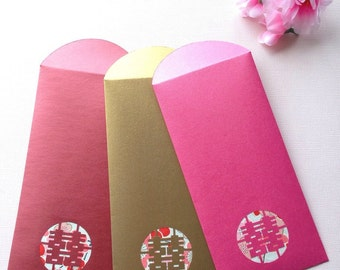 Double Happiness Red Packets / Envelopes in Sakura (Pk of 8)