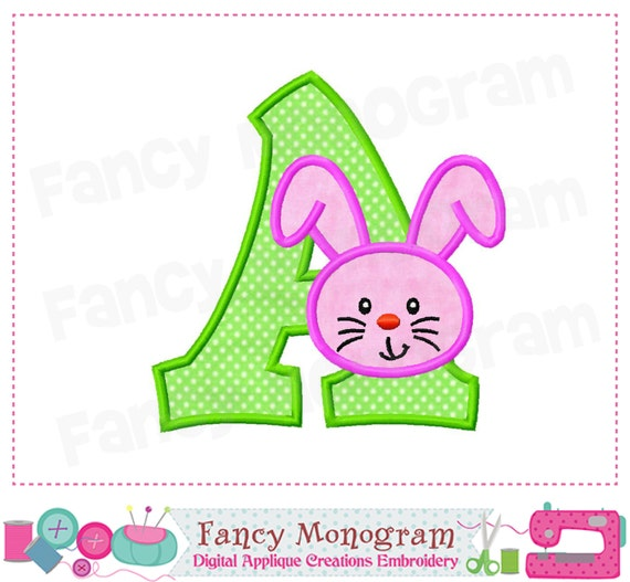 Items similar to easter bunny monogram a applique easter bunny letter