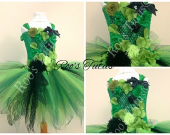 Poison Ivy, villain inspired tutu dress costume (Handmade). superhero dress up