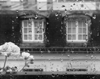 Paris black and white photography, Paris rainy window, Paris print, Paris photography, black and white photography, Paris rain, window view