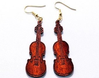 Violin Earring, Wooden Jewelry, Music Lover, Natural Wood, Great Gift