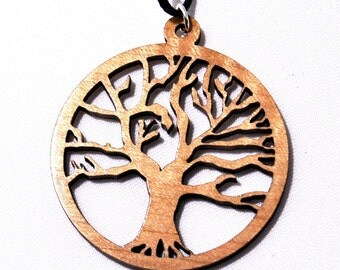 Wood Pendant, Tree of life, Made from natural hardwood.  Pendant is strung on an organza ribbon cord.  Great gift the for nature lover.