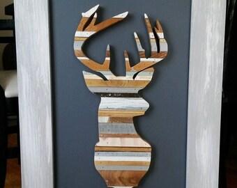 Whitetail deer reclaimed wood art