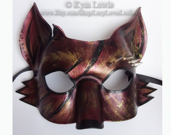 Leather Fox Mask, Steampunk Masquerade, Spiked Leather, Kitsune Mask, Sumi-e Inspired, Hand Made Mask, Cosplay Costume, Fursona dress up