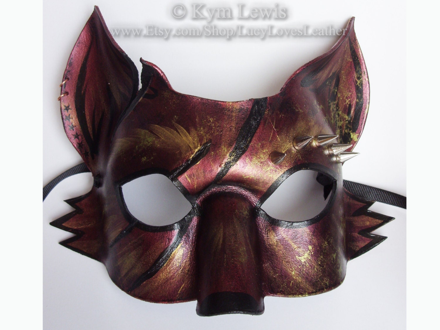 Leather Fox Mask Steampunk Masquerade Spiked Leather