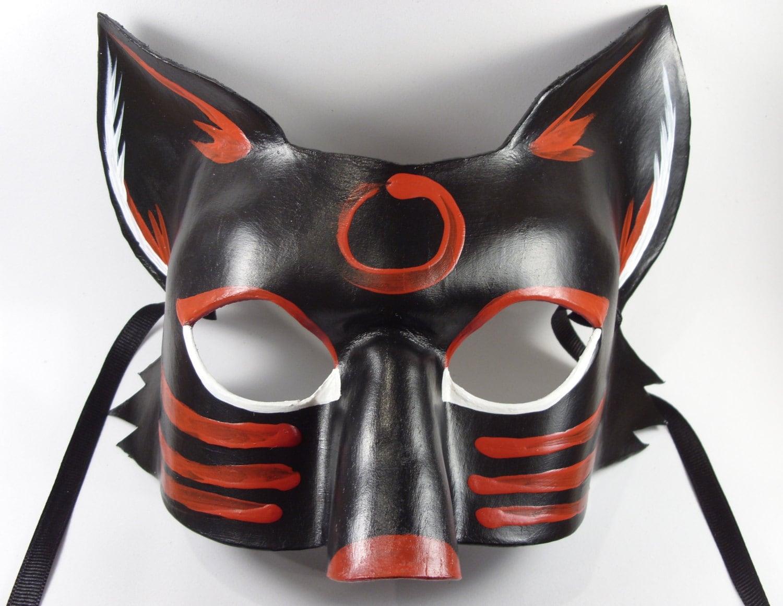 Dark Trickster Fox Masquerade Mask Fox Costume Black