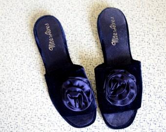 Cute Black Velvet Slippers