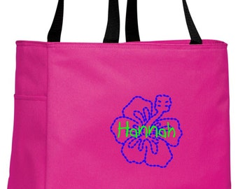 Personalized Hibiscus Flower Tropical Pink Essential Tote with FREE Personalization & FREE SHIPPING    B0750