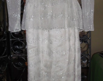 Vintage Grey Sheer Silver Emblossed Evening Gown