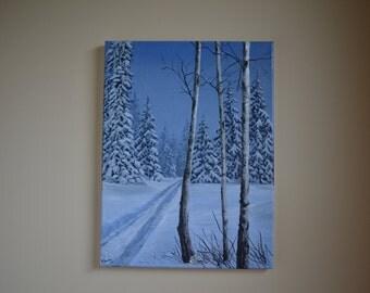 Snow Sparkles, 12x16' original acrylic painting, winter scene, snow scene, christmas painting, winter landscape painting