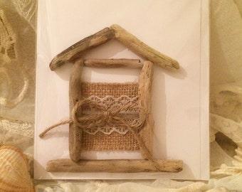 Handmade Driftwood Beach Hut Card